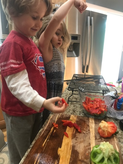 Making sure the peppers are seed free.