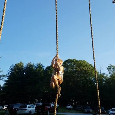 Climbing the rope; a major challenge for most.